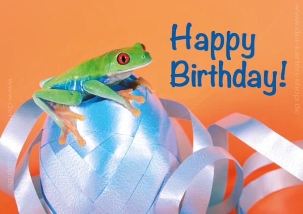 Doppelkarte Geburtstagskarte Rotaugenlaubfrosch mit Geschenkband 'Happy Birthday!'