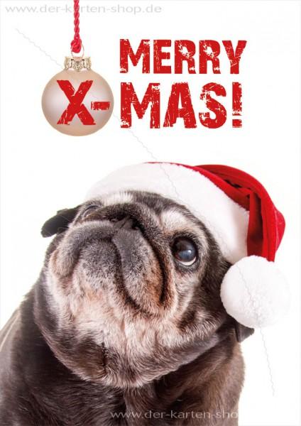 Doppelkarte Weihnachtskarte süßer schwarzer Mops 'MERRY X-MAS!'