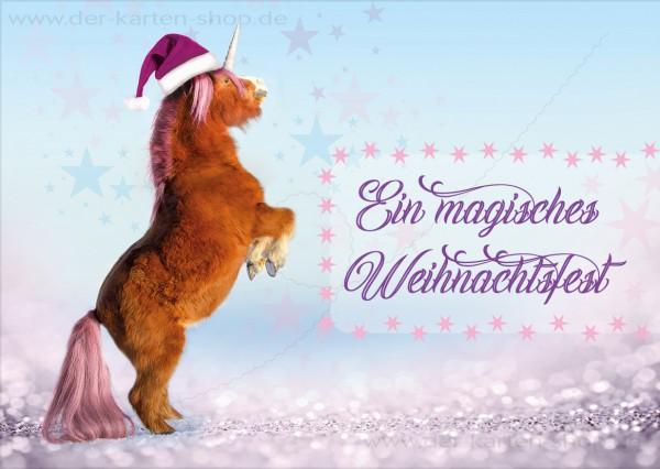Postkarte Weihnachtskarte Einhorn Pony 'Ein magisches Weihnachtsfest'