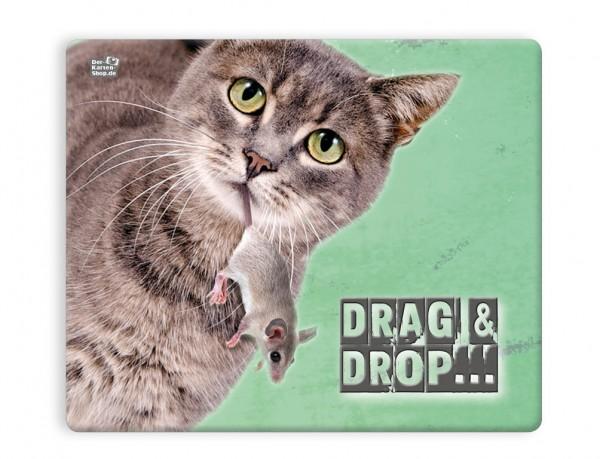 Mauspad Mousepad Katze mit Maus 'Drag & Drop'