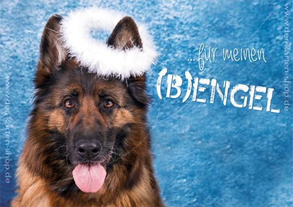 Doppelkarte Schäferhund mit Heiligenschein 'Für meinen (B)engel...'
