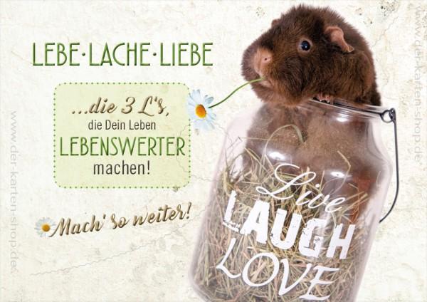 Doppelkarte Grußkarte Meerschweinchen 'Lebe, lache, liebe'