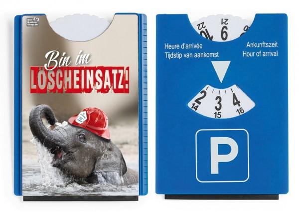 """Motiv / Spaß / Fun Parkscheibe mit Eiskratzer und Gummilippe Elefant Feuerwehr """"Bin im Löscheinsatz!"""