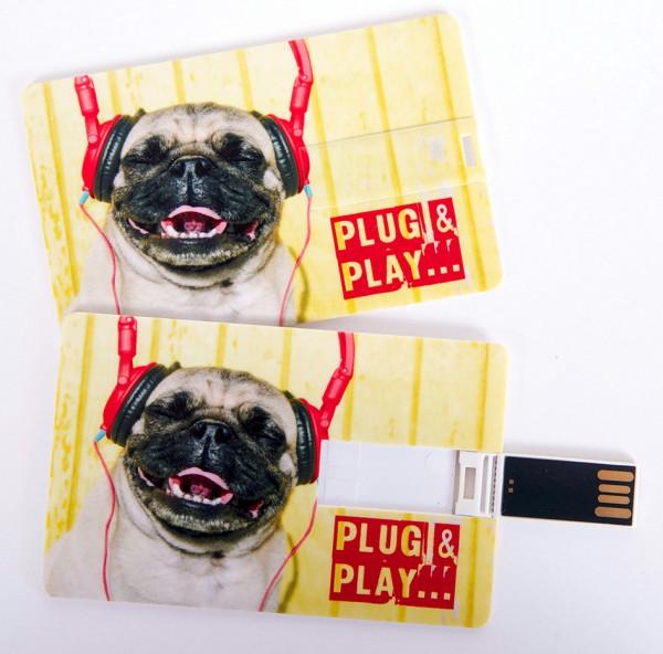 USB Stick als Scheckkarte, Kreditkarte, 4 GB Mops 'Plug & Play'
