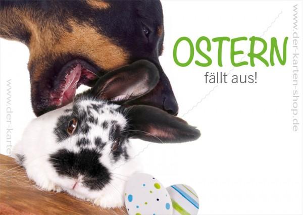 Postkarte Grußkarte Osterkarte Hund mit Hase 'Ostern fällt aus'