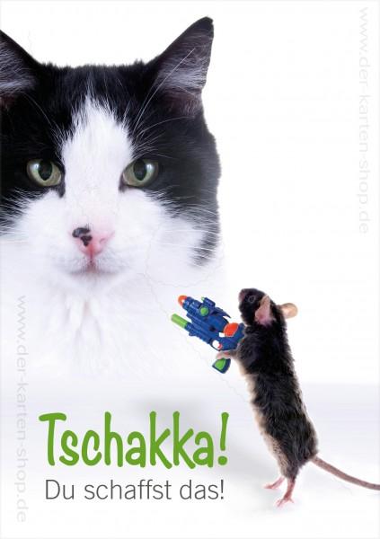 Doppelkarte Grußkarte Motivationskarte Katze und Maus 'Tschaika, Du schaffst das!'