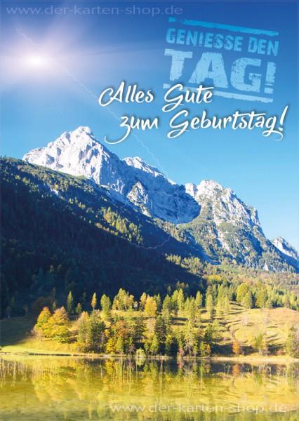 Postkarte Geburtstagskarte Berge & Landschaft 'Genieße den Tag! Alles Gute zum Geburtstag!'