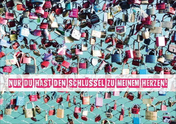 Doppelkarte Grußkarte Liebesgrüße Liebesschlösser 'Nur Du hast den Schlüssel zu meinem Herzen!'