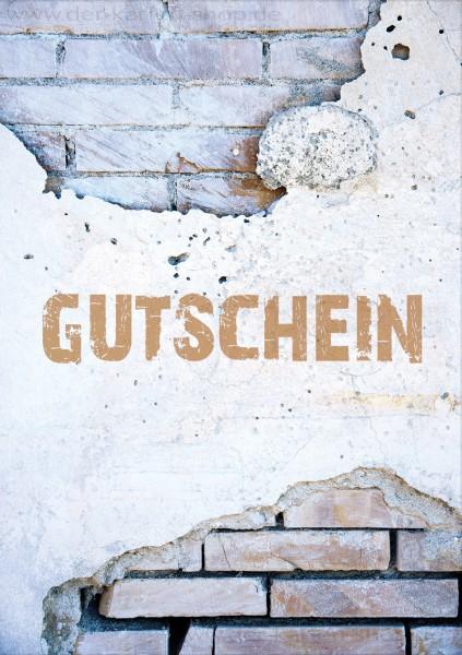 Doppelkarte Gutscheinkarte blanco Karte Mauerwerk mit Text 'Gutschein'