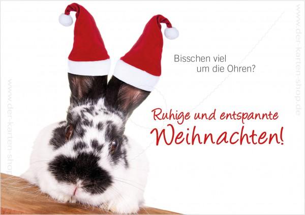 Doppelkarte Weihnachtskarte Hase 'Bisschen viel um die Ohren? Ruhige und entspannte Weihnachten!'