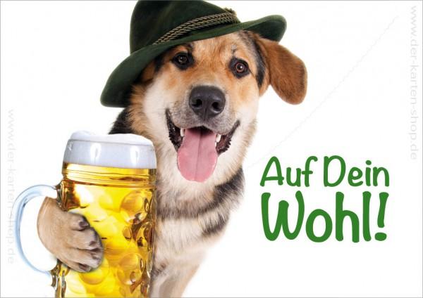 Doppelkarte Geburtstagskarte Glückwunschkarte Schäferhund 'Auf Dein Wohl!'