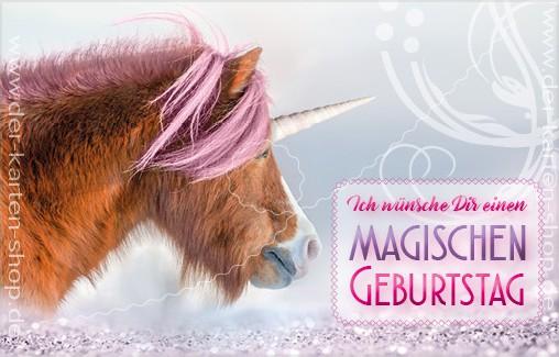 Minikarte Glückwunschkarte Einhorn Pony 'Ich wünsche Dir einen magischen Geburtstag!'