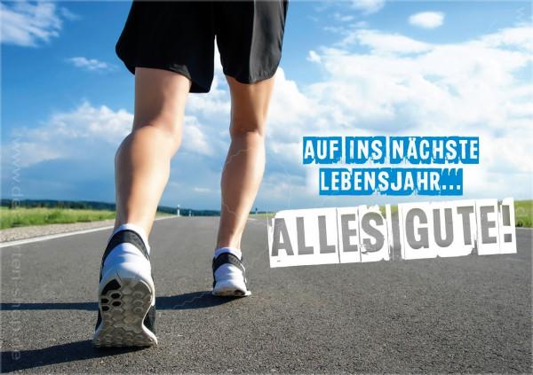 Doppelkarte Geburtstagskarte Jogger, Läufer 'Auf ins nächste Lebensjahr... Alles Gute!'