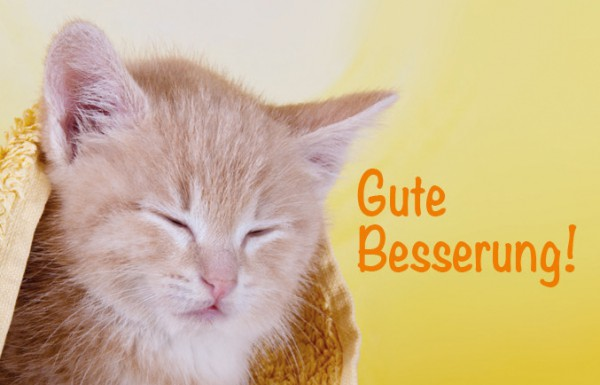 "Minikarte Glückwunschkarte Genesungskarte süße, kranke Katze 'Gute Besserung!"""