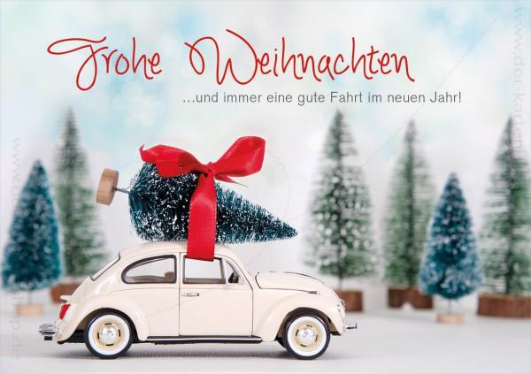 Doppelkarte Weihnachten Retro VW Käfer mit Weihnachtsbaum 'Frohe Weihnachten'
