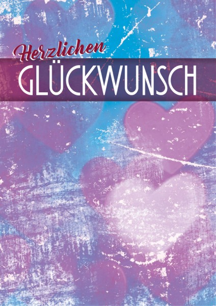 """Doppelkarte Geburtstagskarte Glückwunschkarte mit Herzen """"Herzlichen Glückwunsch1"""""""