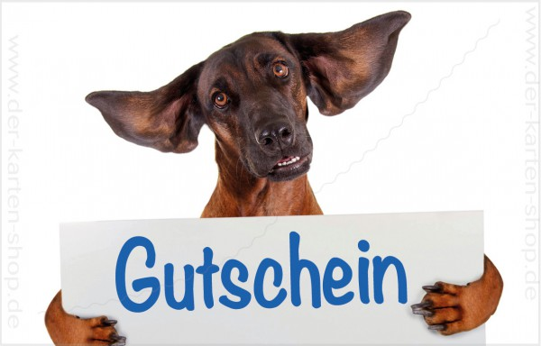 Minikarte Glückwunschkarte Hund mit fliegenden Ohren und Schild 'Gutschein'