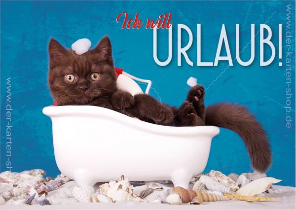 """Postkarte Grußkarte kleine Katze in Badewanne 'Ich will Urlaub!"""""""