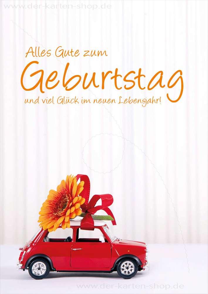 Doppelkarte Geburtstagskarte Auto Mit Blume Alles Gute Zum