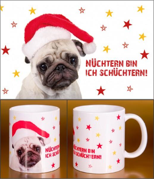 Glühweinbecher Weihnachten Keramik Henkelbecher süßer Mops 'Nüchtern bin ich schüchtern!'