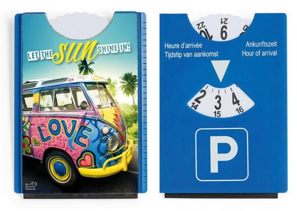 Motiv / Spaß / Fun Parkscheibe mit Eiskratzer und Gummilippe VW Bus Bulli 'Let the sun shine in'