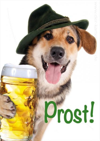 Postkarte Grußkarte Geburtstagskarte Schäferhund mit Mass Bier 'Prost'