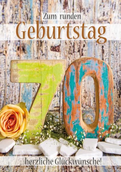 Doppelkarte Geburtstagskarte Zahlengeburtstag '70. Geburtstag'