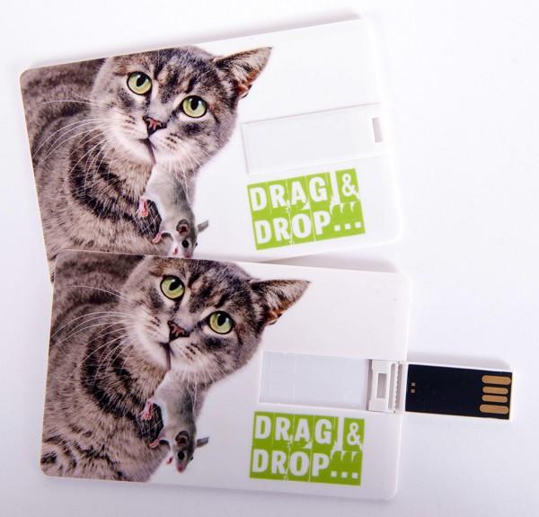 USB Stick als Scheckkarte, Kreditkarte, 4 GB Katze 'Drag & Drop'