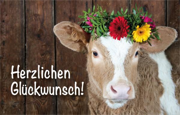 Minikarte Glückwunschkarte Kuh, Kalb mit Blumenkranz 'Alles Gute'