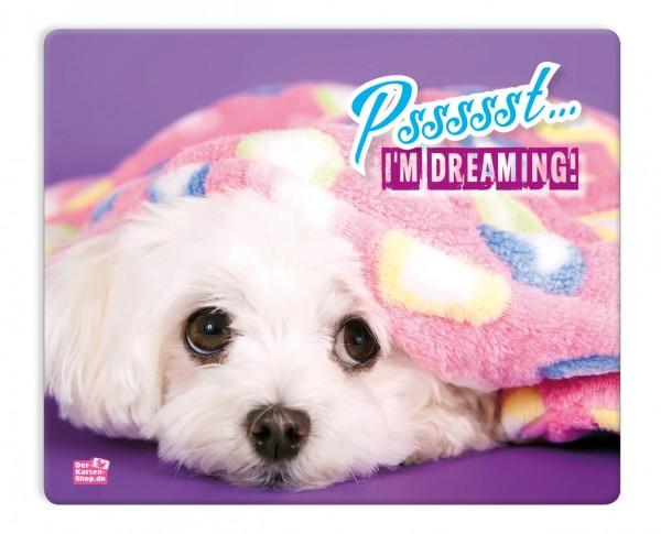 Mauspad Mousepad süßer Malteser Hund Peach 'Pssssst... I'm dreaming!'
