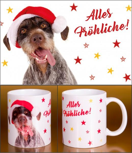 Glühweinbecher Weihnachten Keramik Henkelbecher witziger Hund 'Alles Fröhliche!'