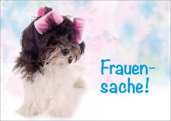Postkarte Grußkarte süßer Hund mit Lockenwicklern 'Frauensache'
