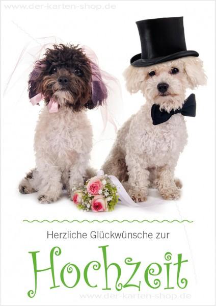 Doppelkarte Glückwunschkarte Hochzeitskarte süßes Hunde Ehepaar 'Herzliche Glückwünsche zur Hochzeit