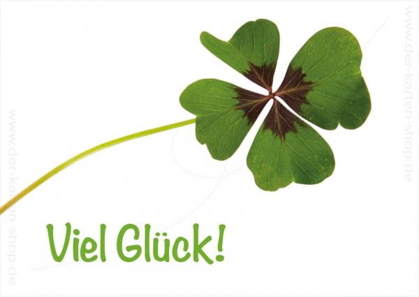 Postkarte Grußkarte vierblättriges Kleeblatt 'Viel Glück!'