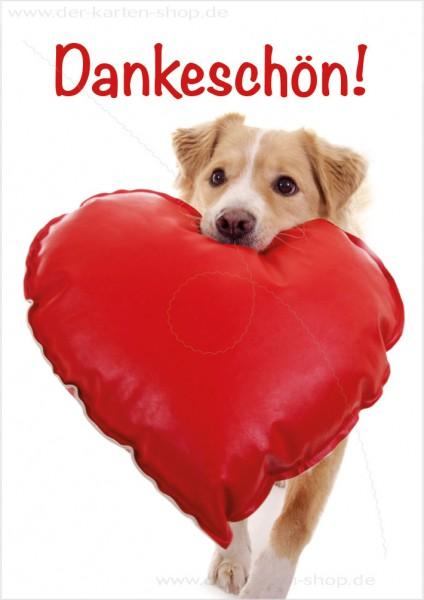 Doppelkarte Grußkarte Dankeskarte süßer Hund mit Herz 'Dankeschön'