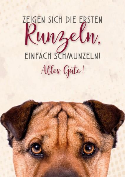 """Doppelkarte Geburtstagskarte mit Faltenhund """"Alles Gute"""""""
