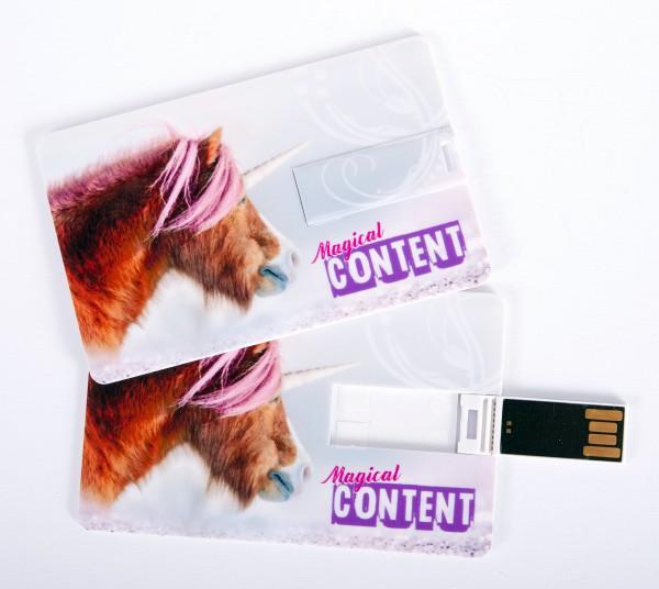 USB Stick als Scheckkarte, Kreditkarte, 4 GB Einhorn Pony 'Magical Content'