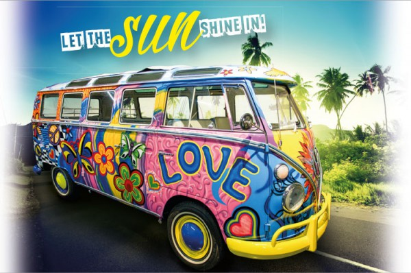 Henkelbecher Keramik Kaffeetasse VW Bus Bulli 'Let the sund shine in'