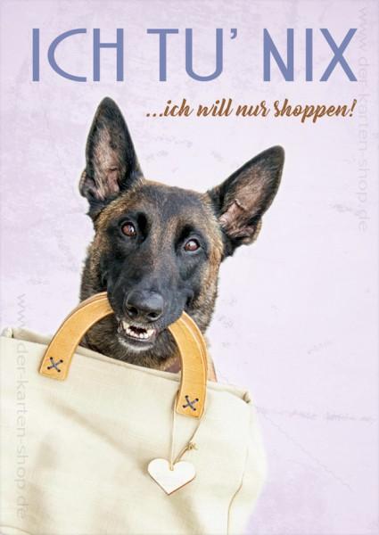 Postkarte Grußkarte Hund mit Handtasche 'Ich tu nix, ich will nur shoppen!'