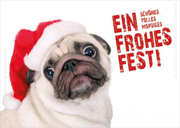 Postkarte Weihnachtskarte süßer Mops 'Ein schönes, tolles, mopsiges, frohes Fest'