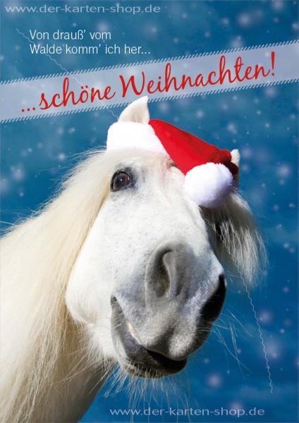 Doppelkarte Weihnachtskarte weißes Pferd 'Von drauß vom Walde komm ich her...'