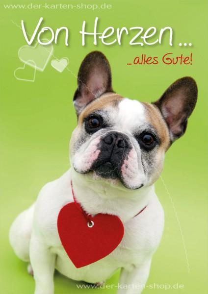 Doppelkarte Geburtstagskarte Glückwunschkarte Bulldogge 'Von Herzen alles Gute'