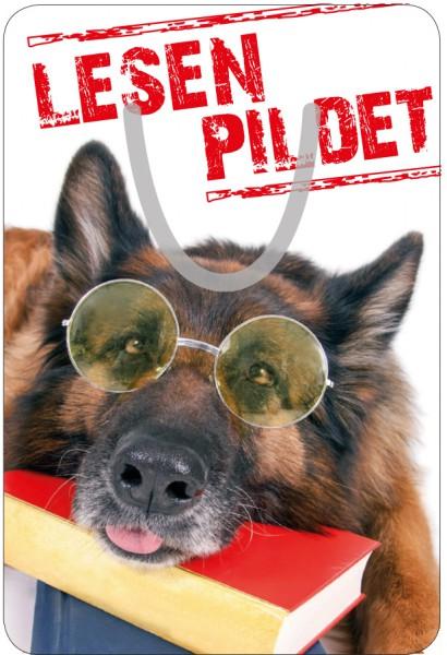 Lesezeichen Aluminium, Witziger Hund mit Brille 'Lesen pildet'