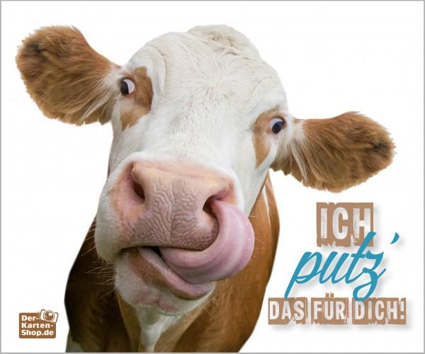 Brillenputztuch witzige Kuh mit Zunge 'Ich putz' das für Dich!'