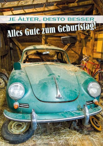 Doppelkarte Geburtstagskarte Porsche Oldtimer 'Je älter, desto besser. Alles Gute zum Geburtstag'