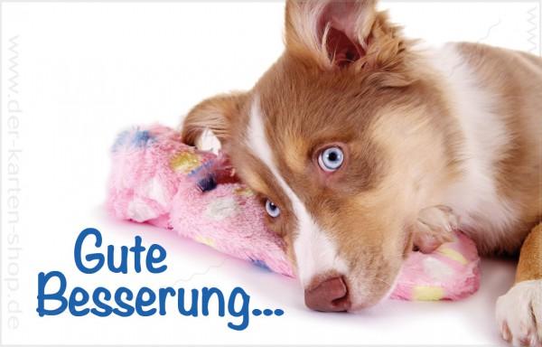 """Minikarte Glückwunschkarte Genesungskarte süßer Hund mit Wärmeflasche 'Gute Besserung!""""-Copy"""