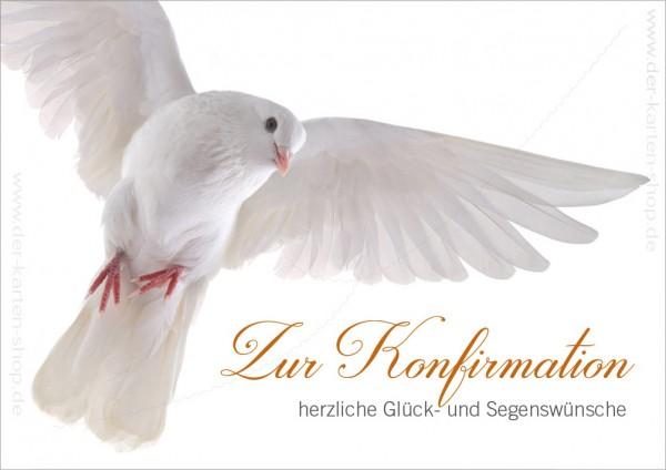 Doppelkarte Glückwunschkarte weiße Taube 'Zur Konfirmation herzliche Glück- und Segenswünsche'