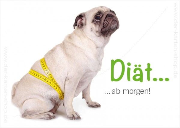 Postkarte Grußkarte Mops mit Maßband 'Diät ab morgen!'