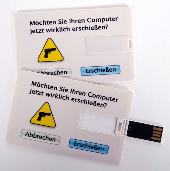 USB Stick als Scheckkarte, Kreditkarte, 4 GB 'Computer erschießen'