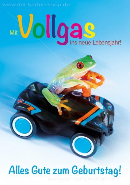 Doppelkarte Geburtstagskarte Frosch auf Bobbycar 'Mit Vollgas ins neue Lebensjahr. Alles Gute zum Ge